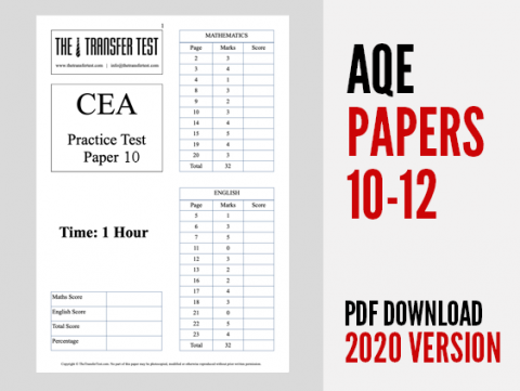 AQE Practice Test Papers 10-12