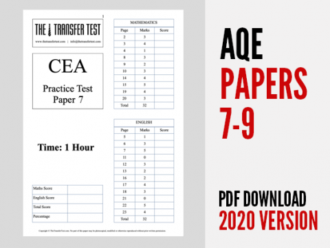 AQE Practice Test Papers 7-9