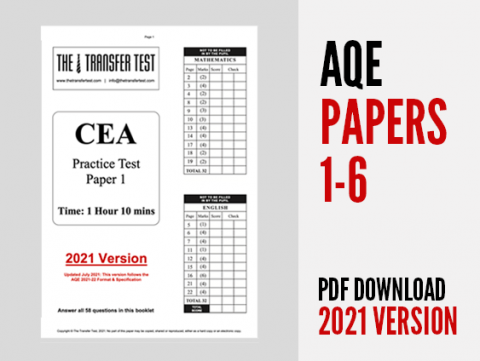 AQE (CEA) Practice Papers 1-6 (2021 Version)